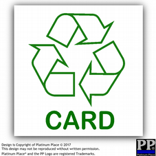 1 x Card-Sticker-Recycle Logo Sign,Recycling,Bin,Waste,Green,Environment,Tub,Tubs,Container,Containers